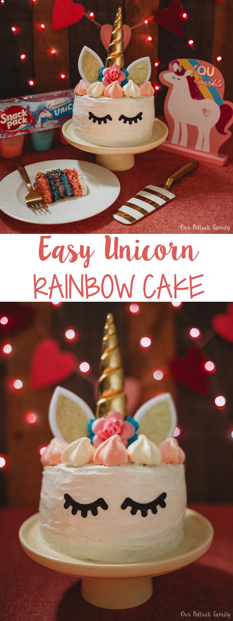 Easy Unicorn Rainbow Cake