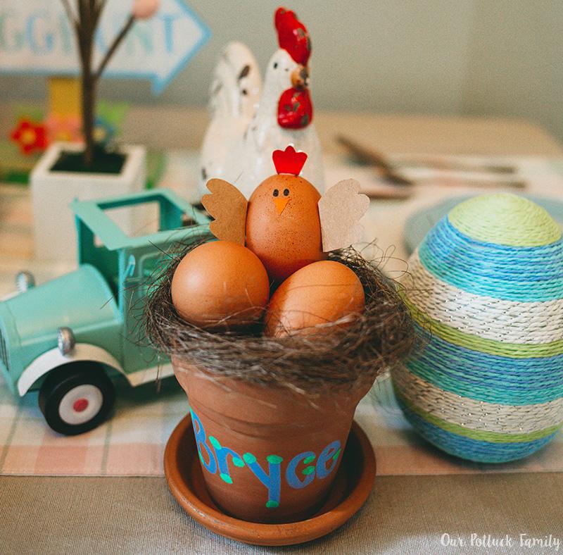 Chicken Nest Easter Egg Craft boy