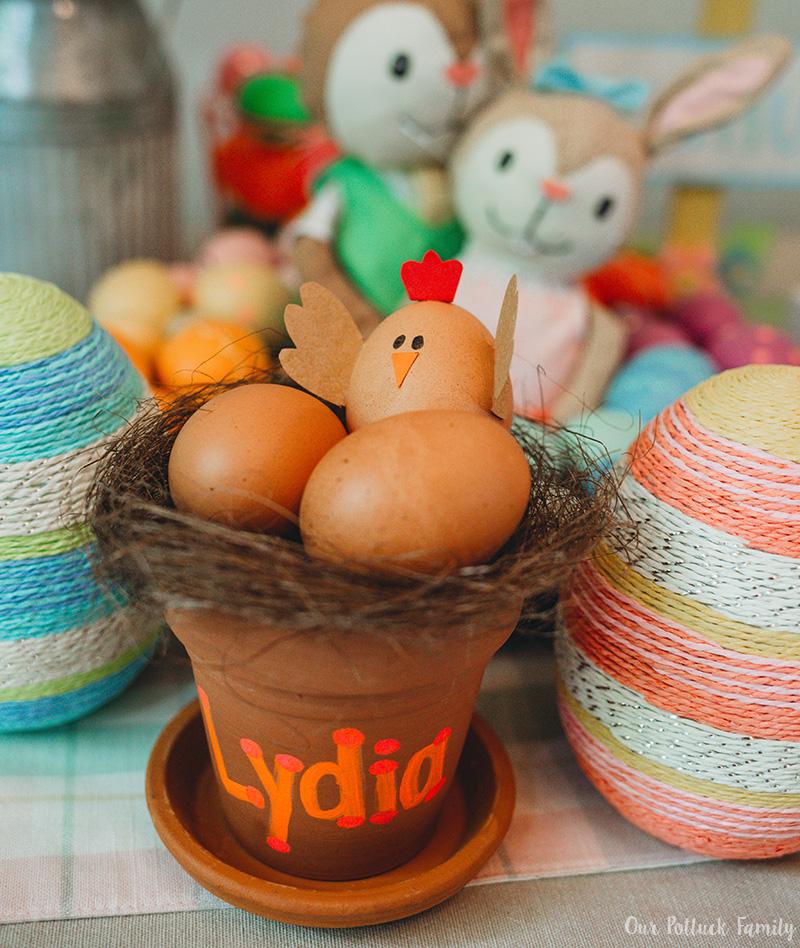 Chicken Nest Easter Egg Craft girl