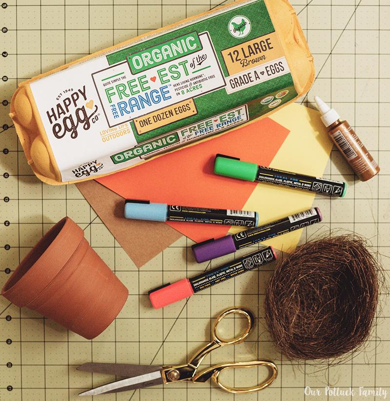 Chicken Nest Easter Egg Craft materials