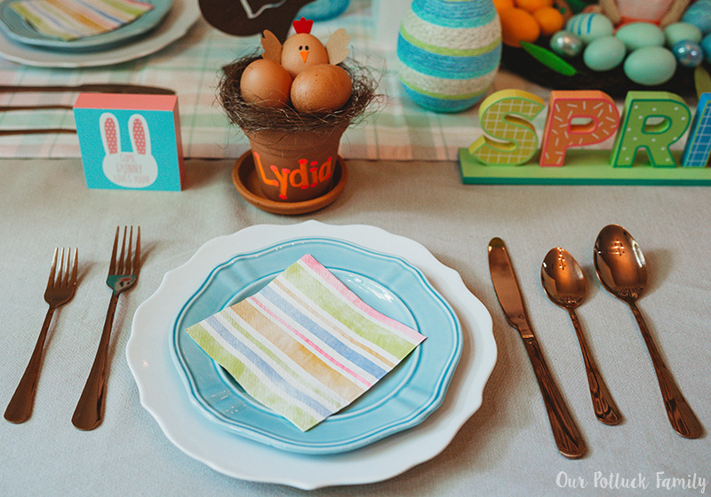 Chicken Nest Easter Egg Craft place setting
