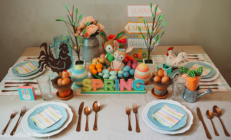Chicken Nest Easter Egg Craft table