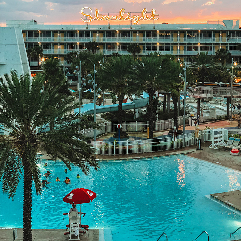 Universal Studios Cabana Bay Beach Resort sunset