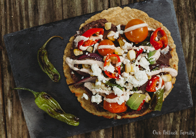 Grilled Vegetable Tostada plated