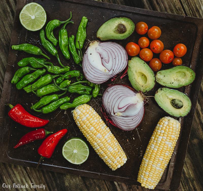 Grilled Vegetable Tostada veggies