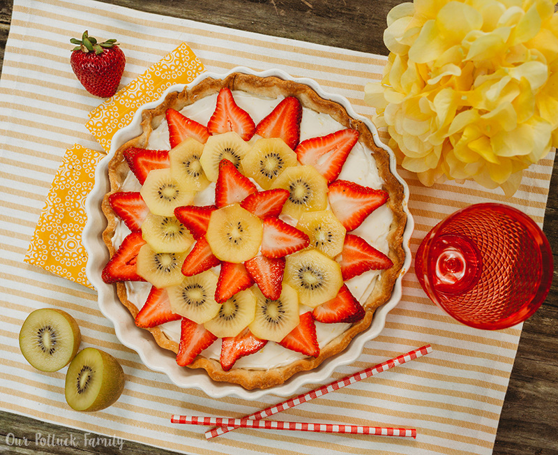 Strawberry Kiwi Cheese Tart kiwis
