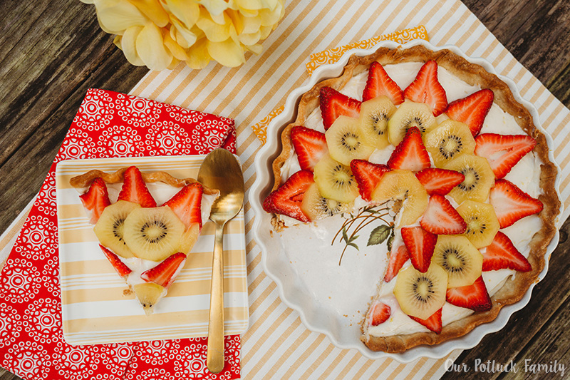 Strawberry Kiwi Cheese Tart slice