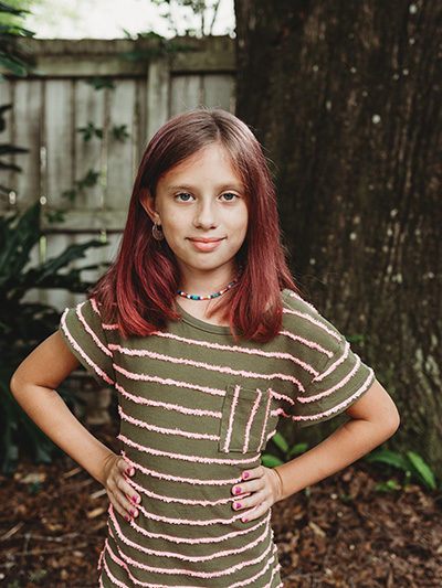 girl with striped shirt