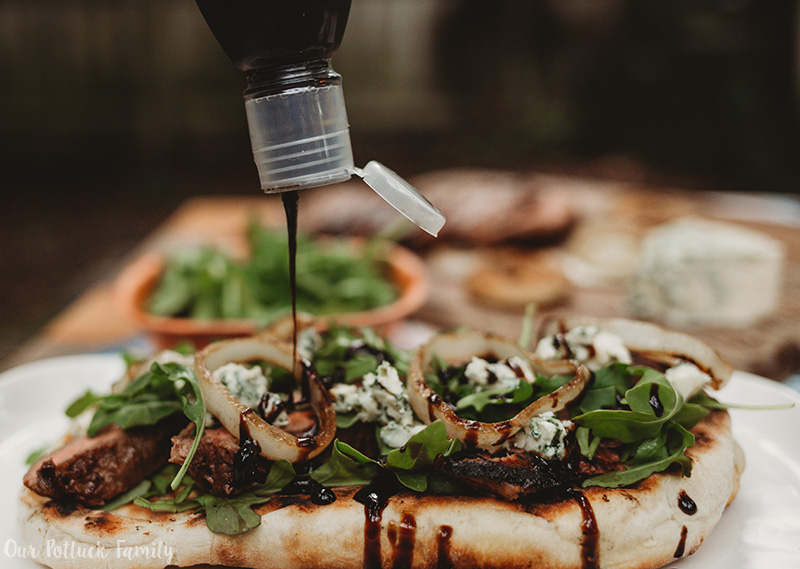 Grilled Steak Flatbread Drizzle Balsamic