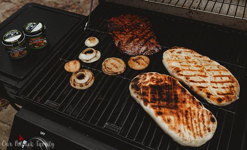 Grilled Steak Flatbread grilling