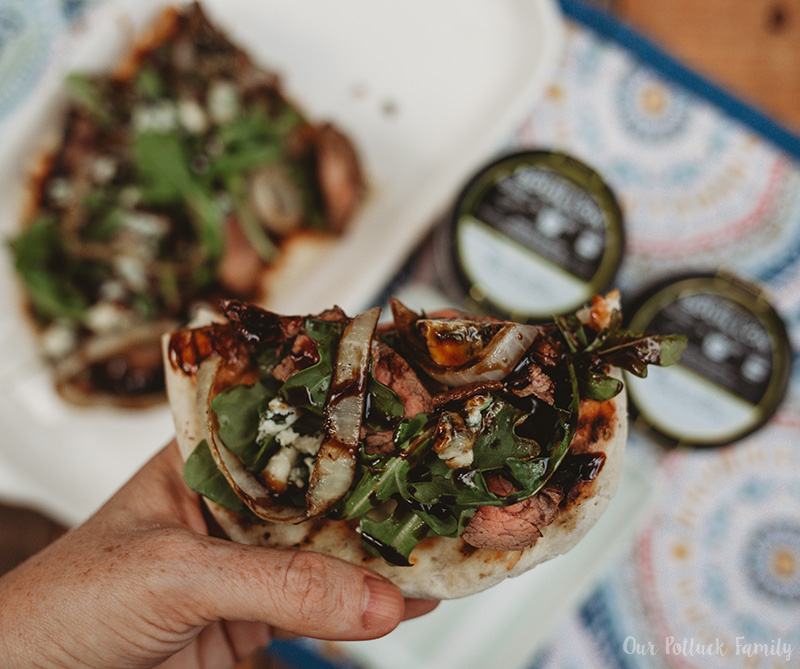 Grilled Steak Flatbread slice