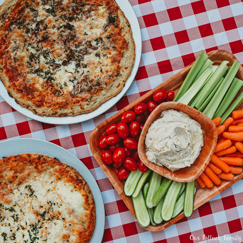 vegetables pizza flatbread dip