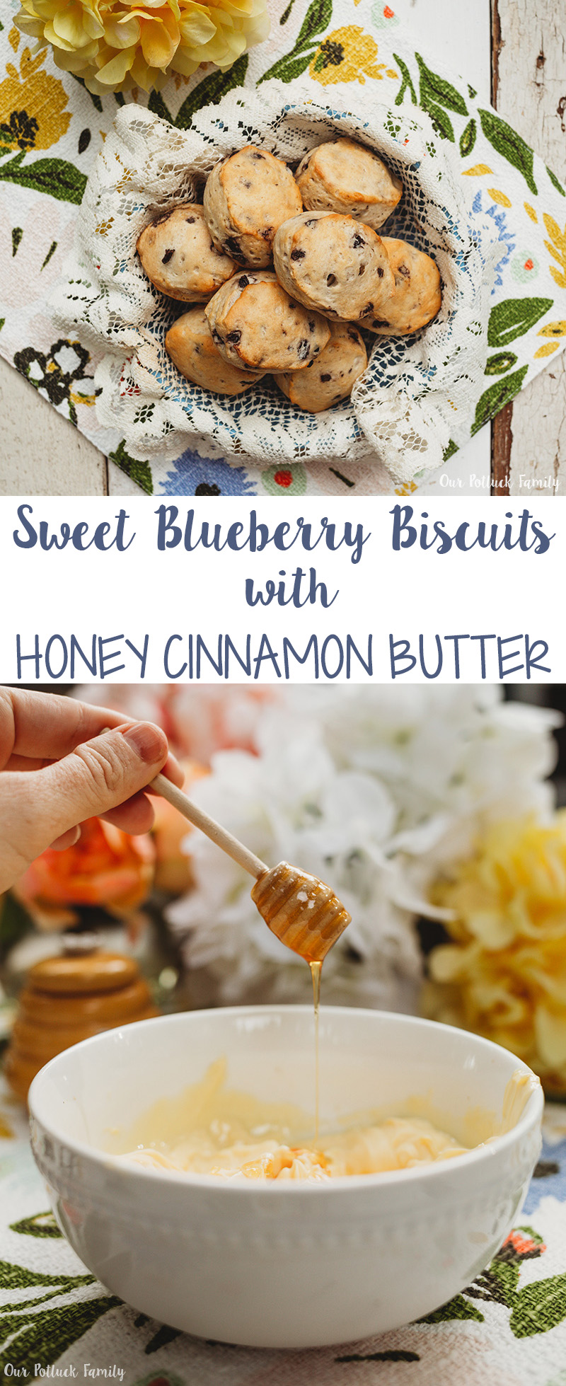 Sweet Blueberry Biscuits with Honey Cinnamon Butter