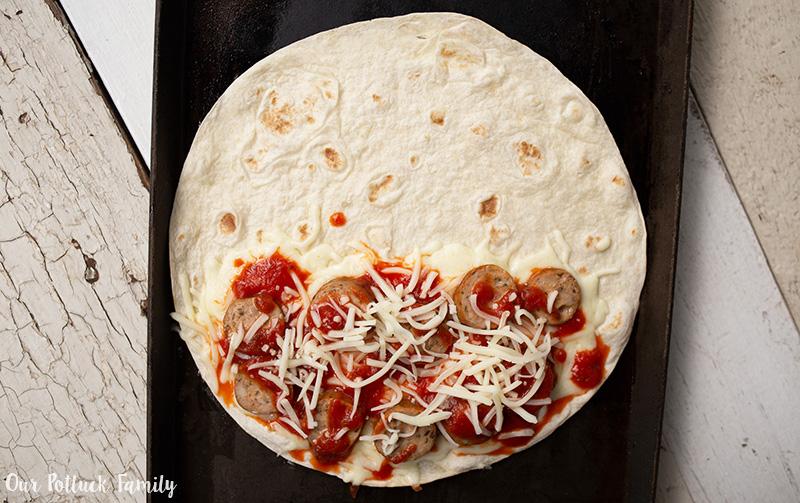 Pizzadilla cooking